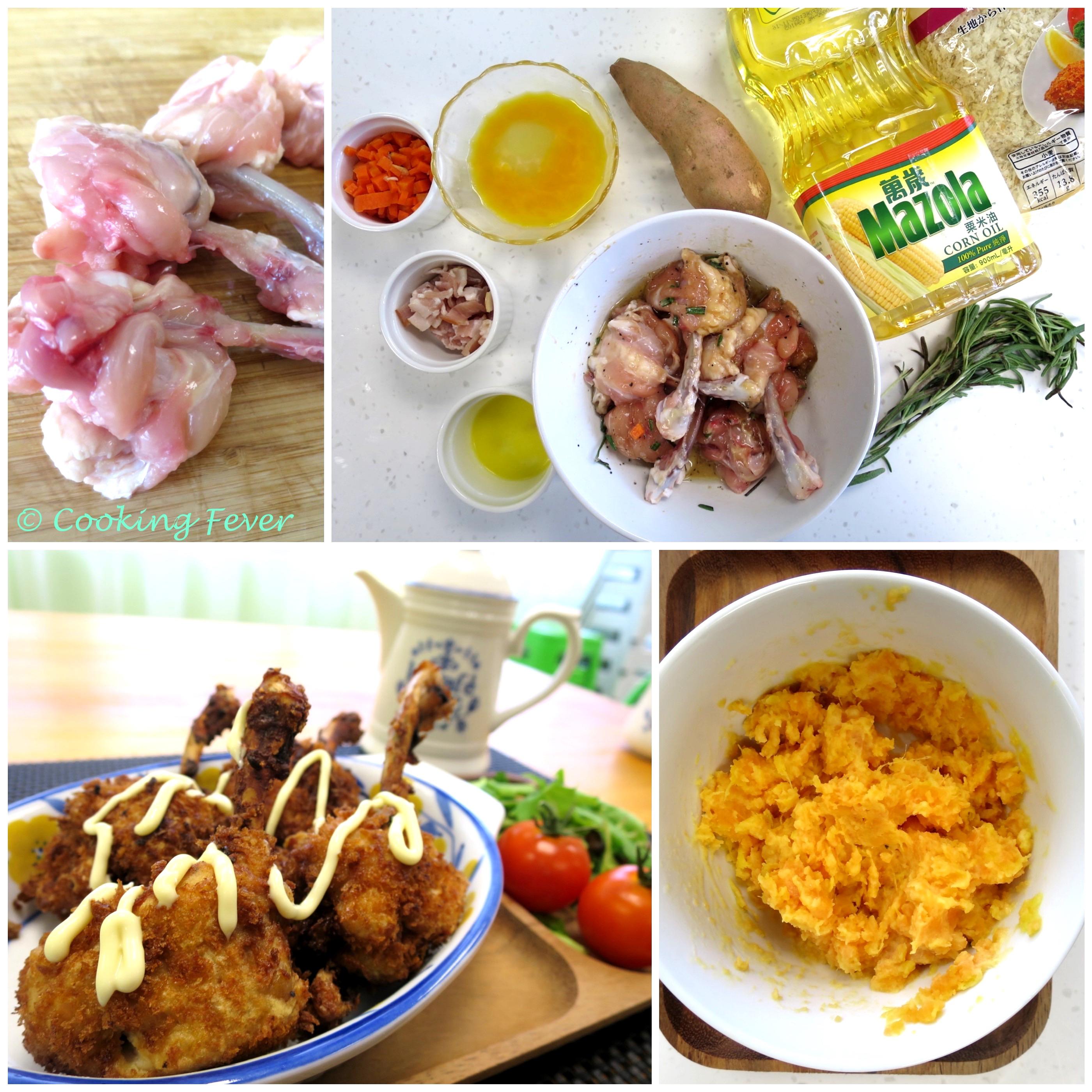 Sweet Potato Stuff Chicken Wing Step